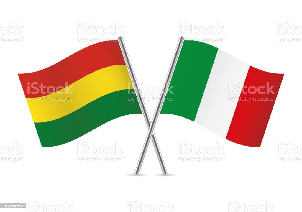 Banderas de Bolivia e Italia. Ilustración de vector. - ilustración de arte vectorial