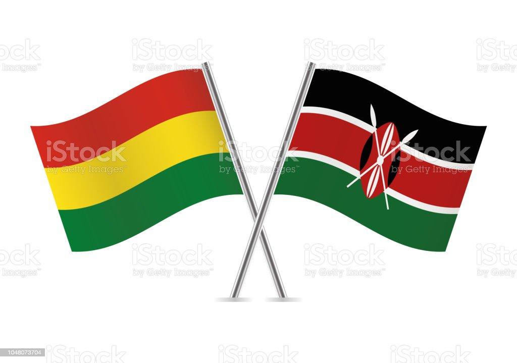 Banderas de Bolivia y Kenya. Ilustración de vector. - ilustración de arte vectorial
