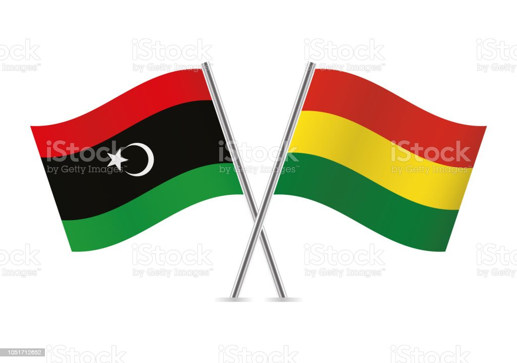 Banderas de Bolivia y Libia. Ilustración de vector. - ilustración de arte vectorial