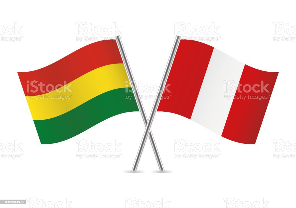 Bolivia and Peru flags. Vector illustration. vector art illustration