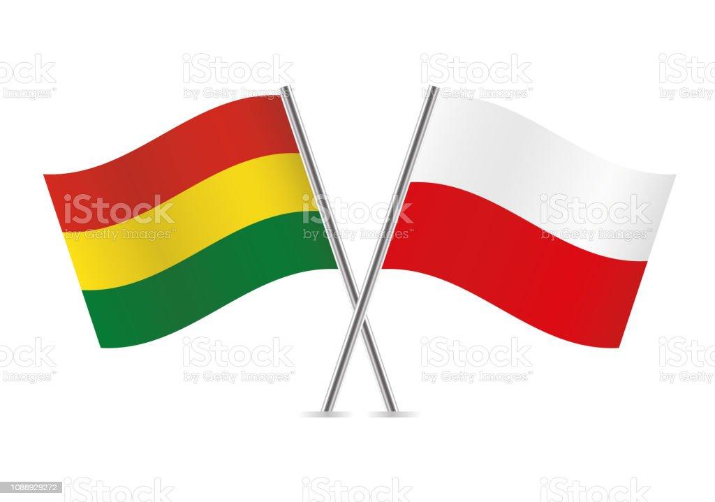 Banderas de Bolivia y Polonia. Ilustración de vector. - ilustración de arte vectorial