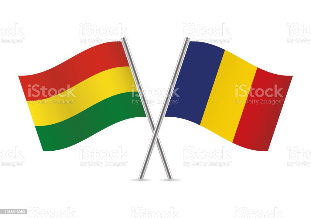 Banderas de Bolivia y Rumania. Ilustración de vector. - ilustración de arte vectorial