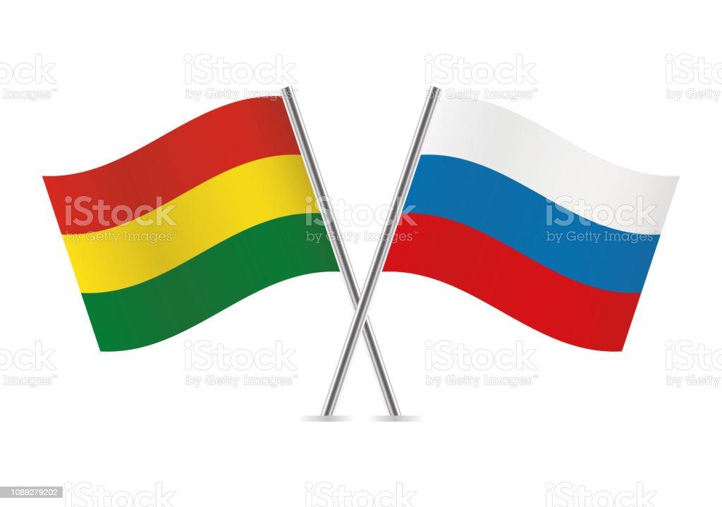 Banderas de Bolivia y Rusia. Ilustración de vector. - ilustración de arte vectorial