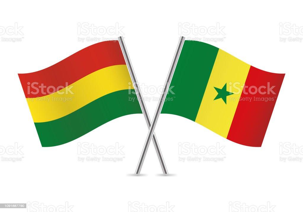 Banderas de Bolivia y Senegal. Ilustración de vector. - ilustración de arte vectorial