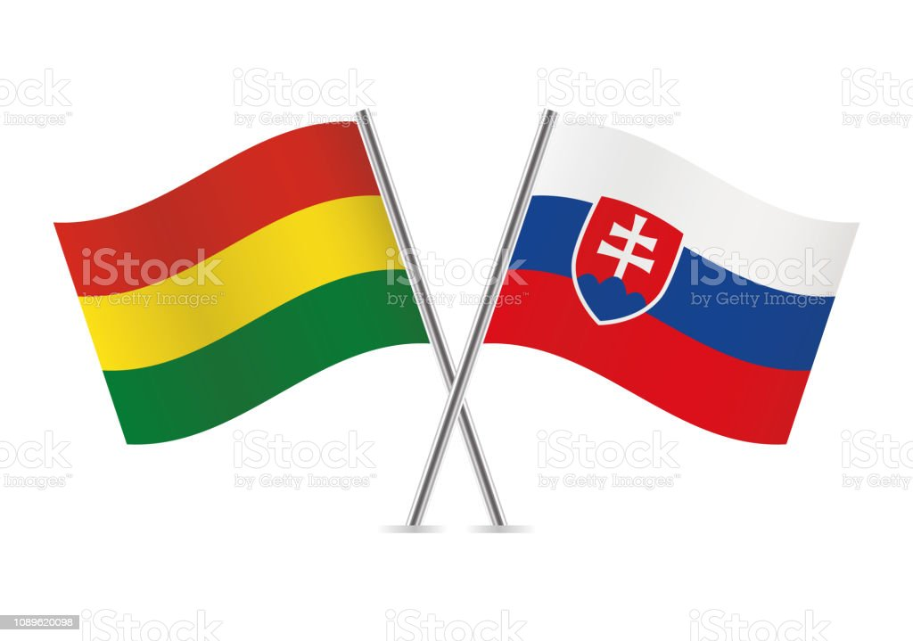 Banderas de Bolivia y Eslovaquia. Ilustración de vector. - ilustración de arte vectorial