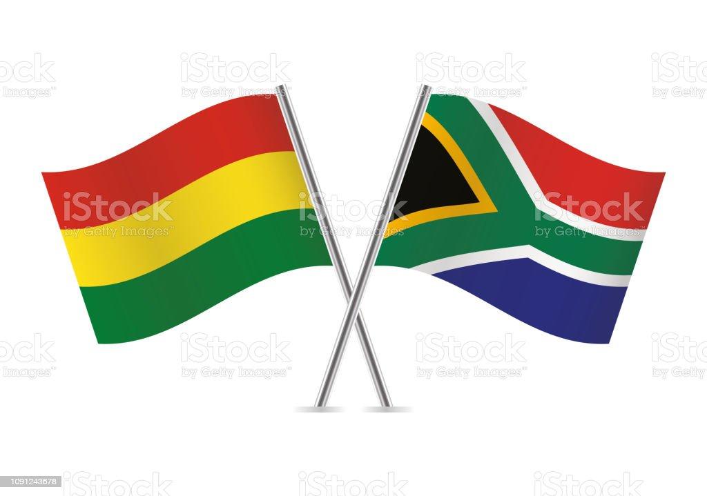 Banderas de Bolivia y Sudáfrica. Ilustración de vector. - ilustración de arte vectorial