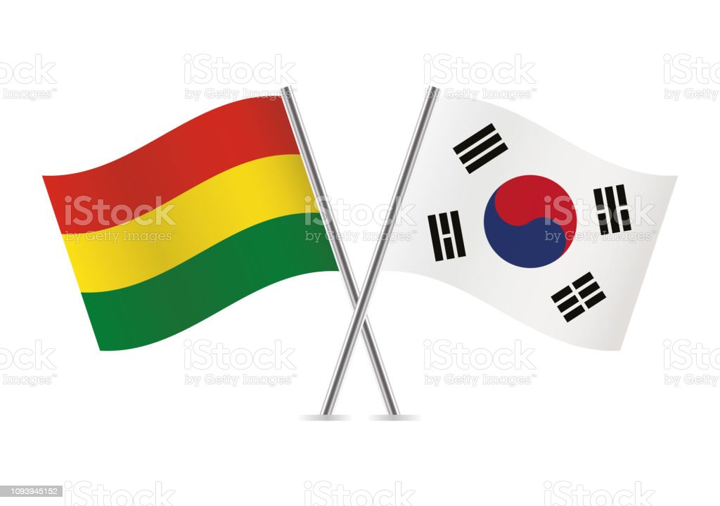 Banderas de Bolivia y Corea del sur. Ilustración de vector. - ilustración de arte vectorial