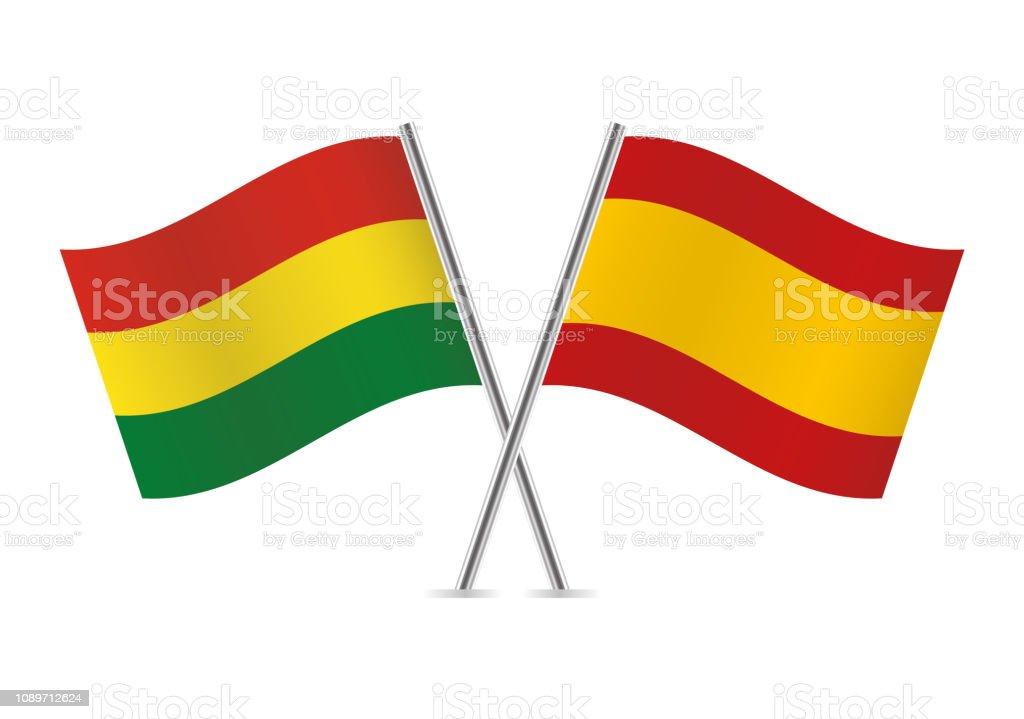 Banderas de Bolivia y España. Ilustración de vector. - ilustración de arte vectorial