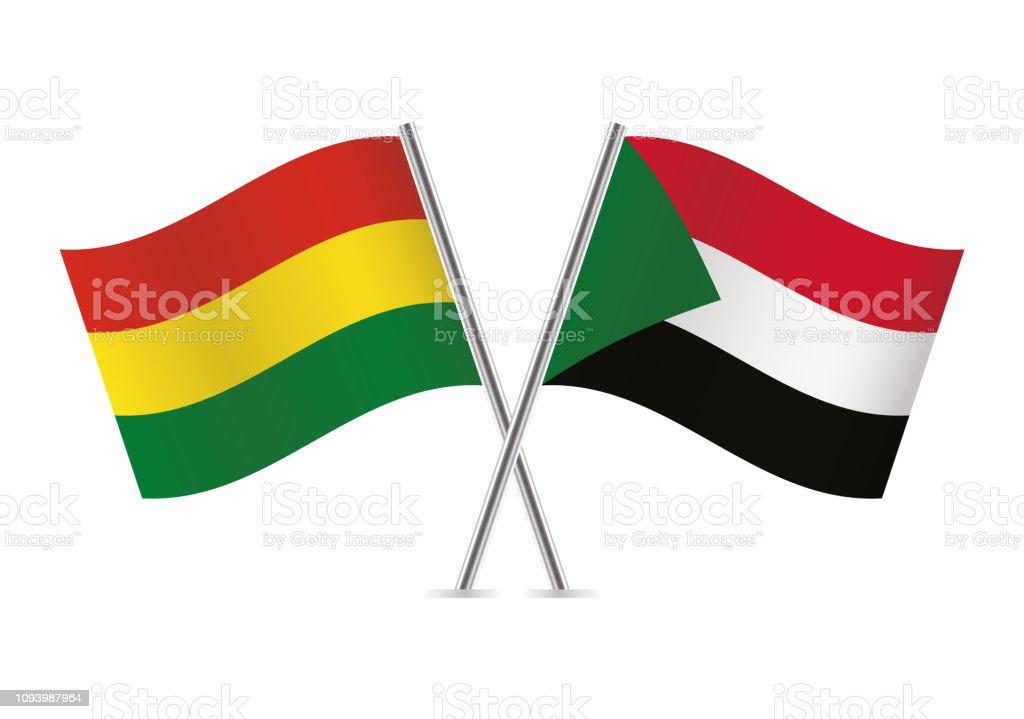 Banderas de Bolivia y Sudán. Ilustración de vector. - ilustración de arte vectorial