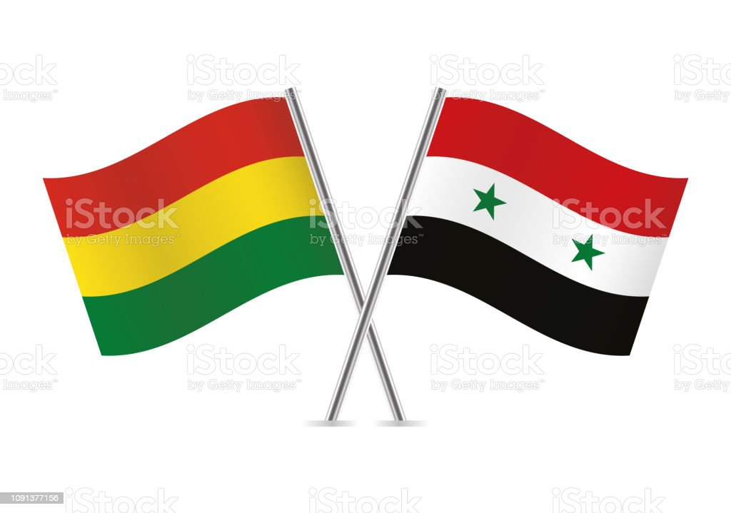 Banderas de Bolivia y Siria. Ilustración de vector. - ilustración de arte vectorial