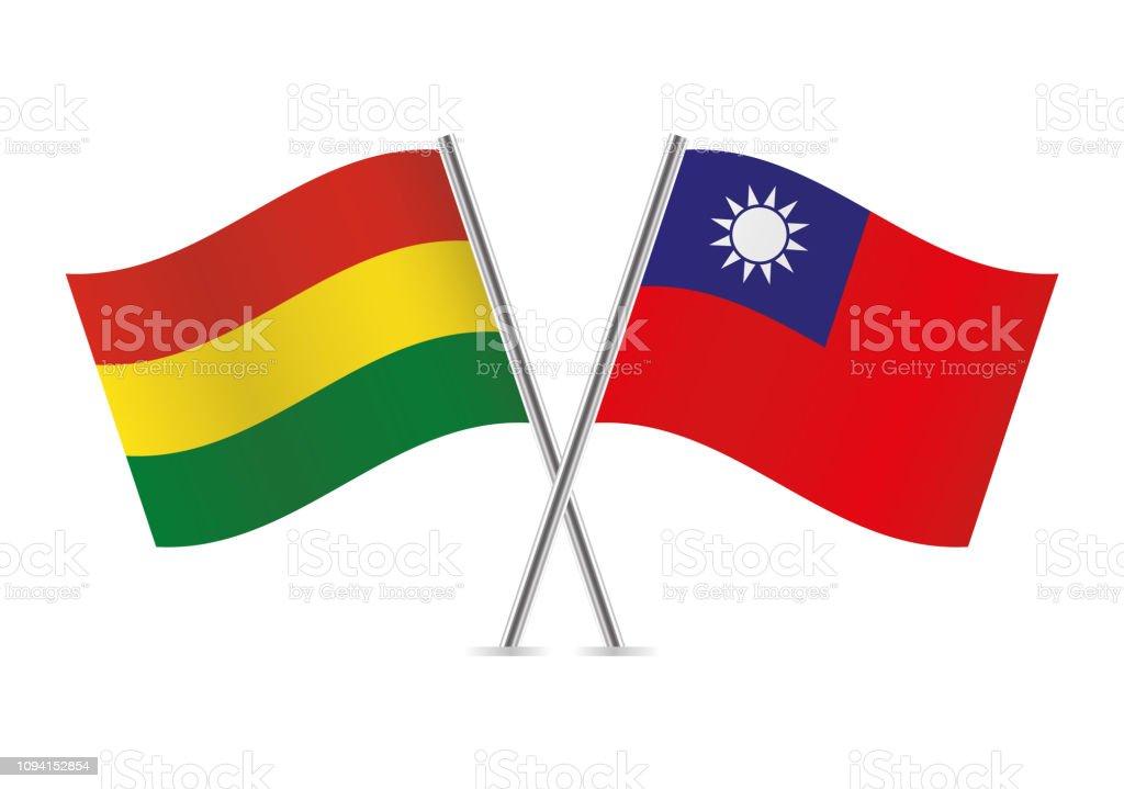 Banderas de Bolivia y Taiwan. Ilustración de vector. - ilustración de arte vectorial