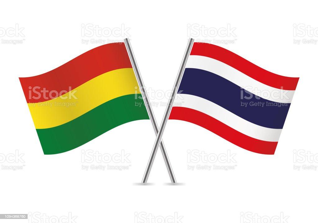 Banderas de Bolivia y Tailandia. Ilustración de vector. - ilustración de arte vectorial