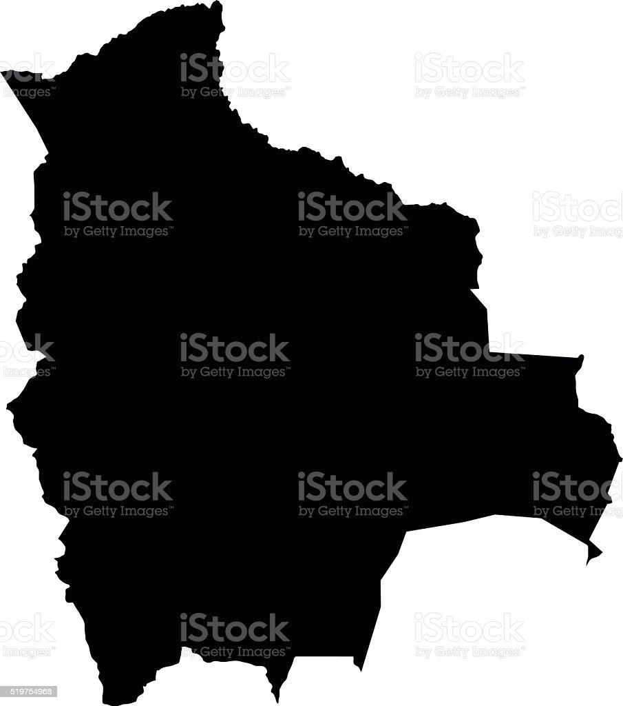 Bolivia negro sobre blanco, Vector de fondo Mapa - ilustración de arte vectorial