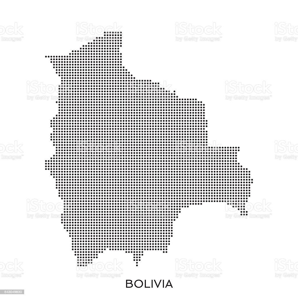 Bolivia Mapa de patrón de semitono de puntos - ilustración de arte vectorial