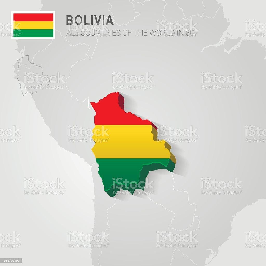 Bolivia drawn on gray map. - ilustración de arte vectorial