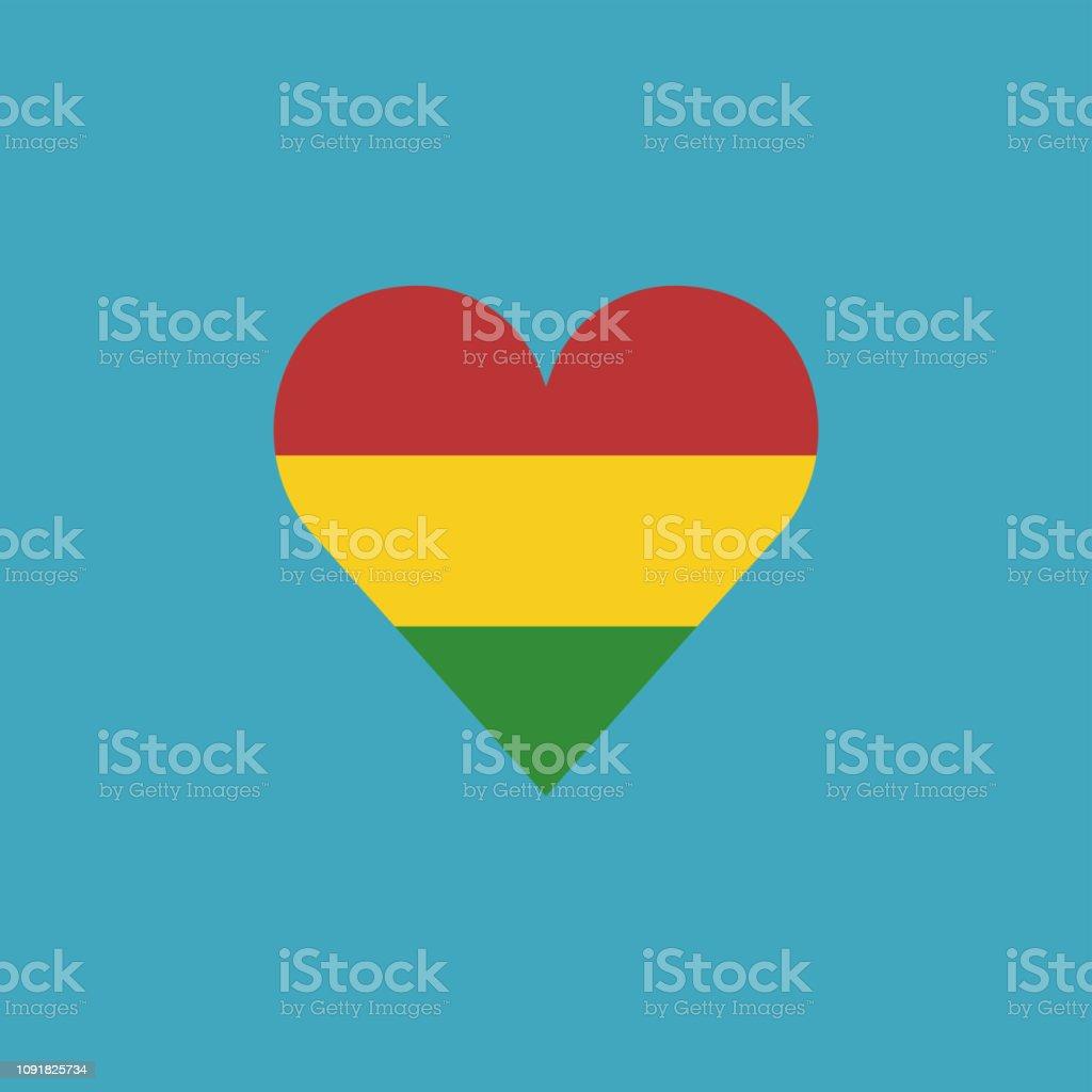 Icono de bandera de Bolivia en forma de corazón en diseño plano - ilustración de arte vectorial