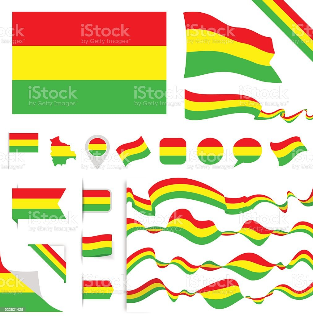 Bolivia Flag Set - ilustración de arte vectorial