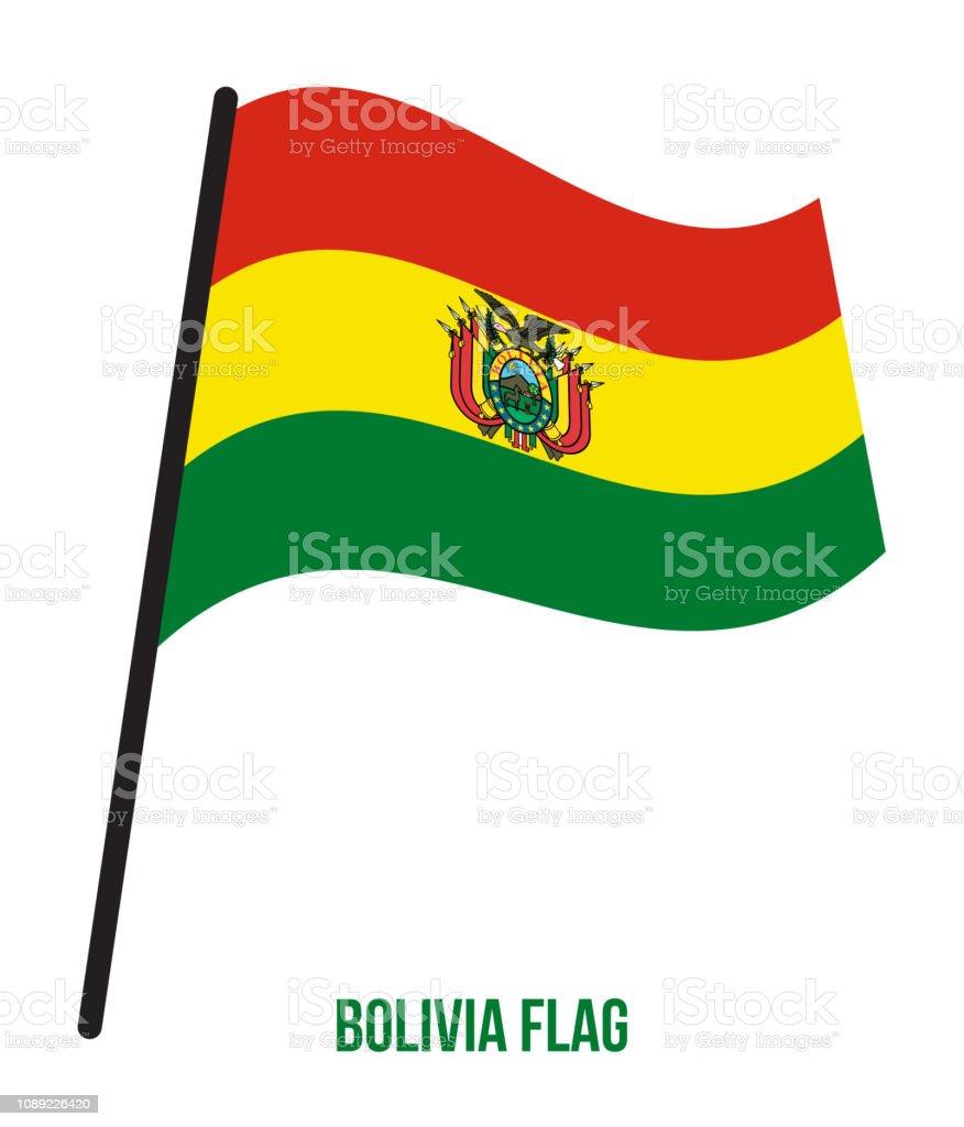 Bolivia bandera ondeando Vector ilustración sobre fondo blanco. Bandera Nacional de Bolivia - ilustración de arte vectorial