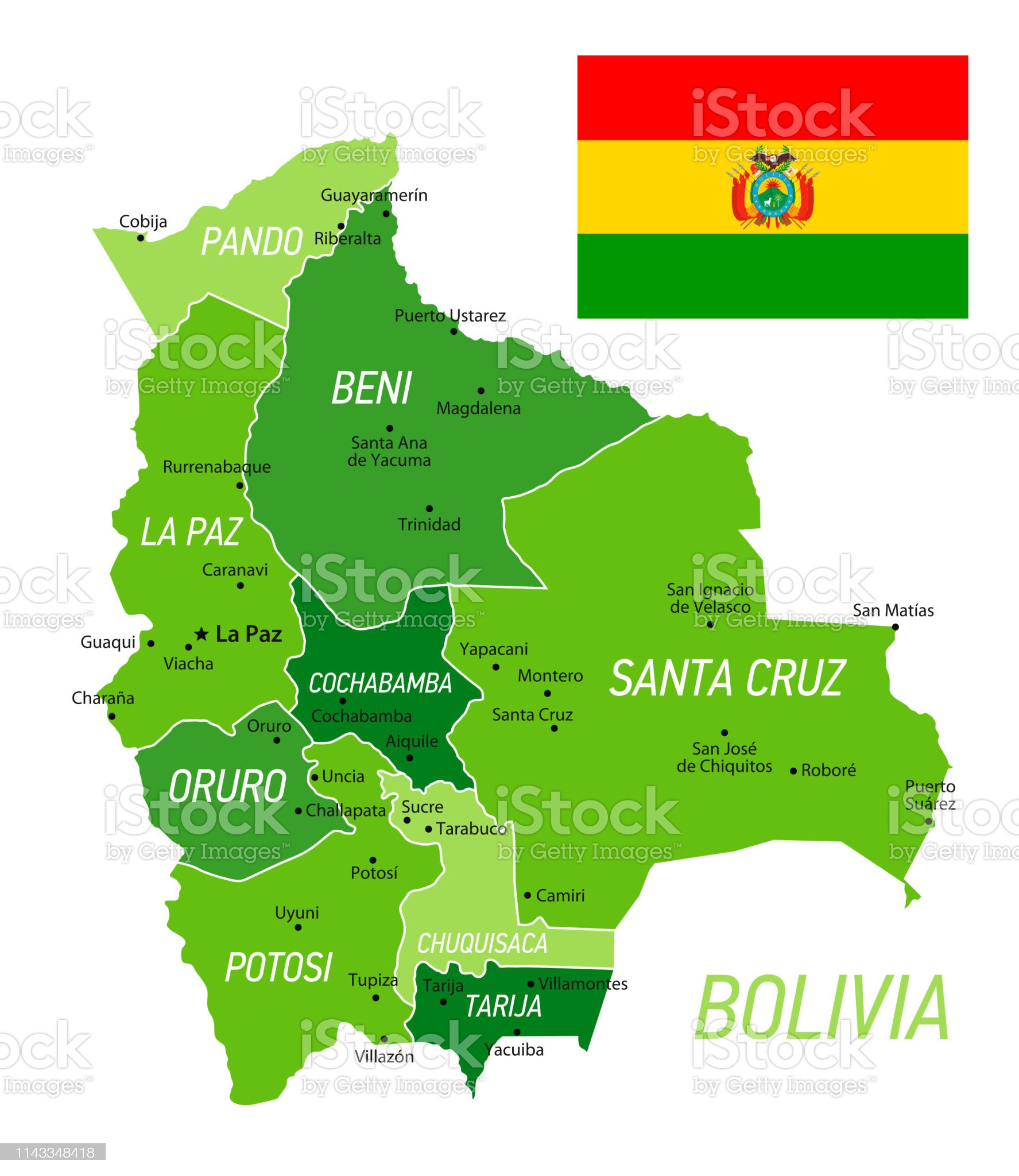✓ Imagen de Mapa verde de Bolivia con bandera nacional y provincias. Vector  Illustration Fotografía de Stock