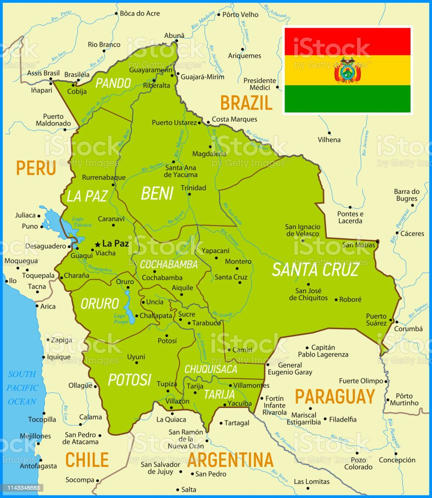 Bolivia Map with National Flag and Geographical Borders