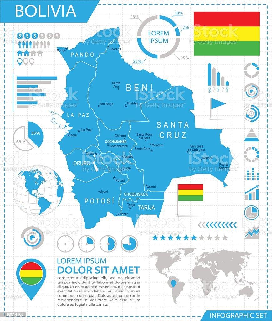 Bolivia-infografía mapa-Ilustración - ilustración de arte vectorial