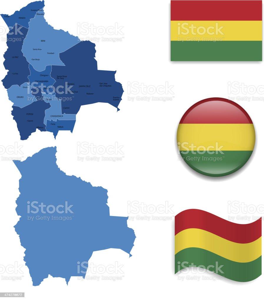 Bandera de mapa y Bolivia - ilustración de arte vectorial