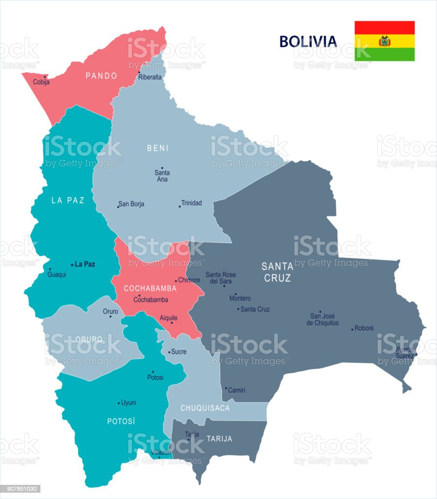 Picture of: Bolivia Map And Flag Detailed Vector Illustration Stock Illustration Download Image Now Istock