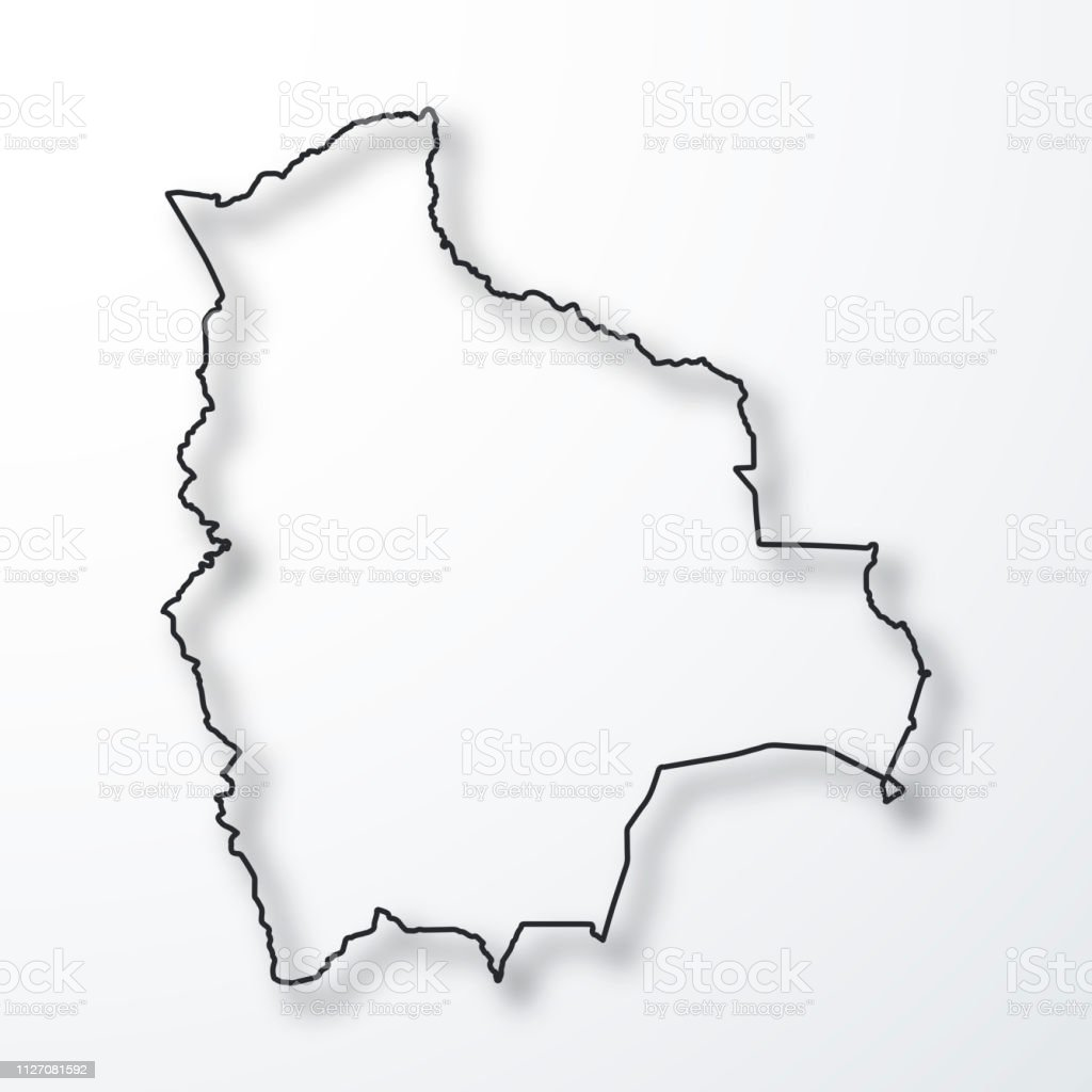 Picture of: Bolivia Map Black Outline With Shadow On White Background Stock Illustration Download Image Now Istock