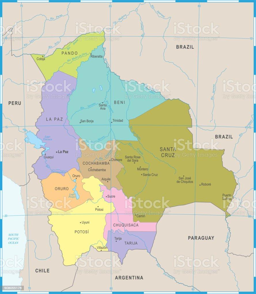 Mapa de Bolivia - ilustración vectorial detallado - ilustración de arte vectorial