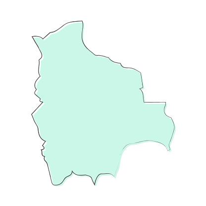 Bolivia map hand drawn on white background - Trendy design