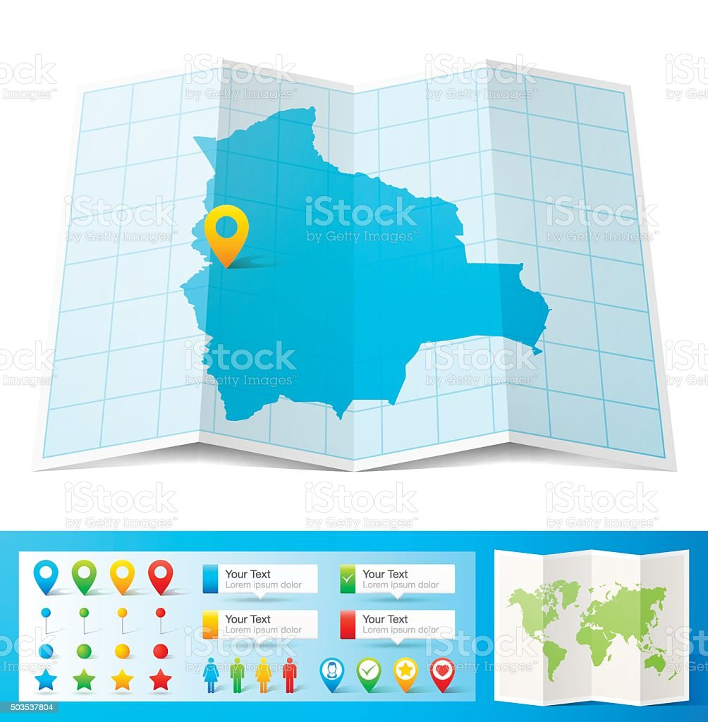 Bolivia Map with location pins isolated on white Background vector art illustration