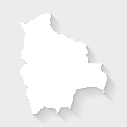 Bolivia map with long shadow on blank background - Flat Design
