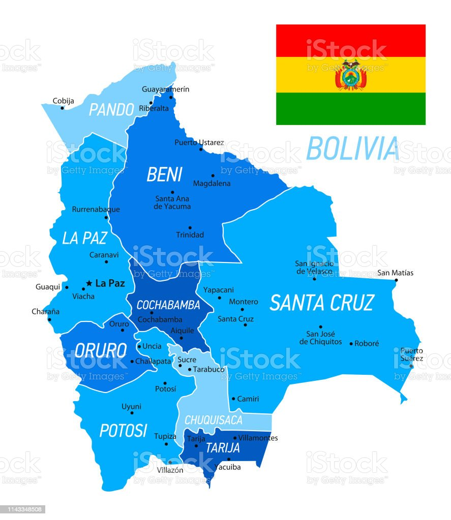 Bolivia Map With National Flag Blue Vector Illustration Stock ... on bosnia on world map, chile on world map, colombia on world map, belize on world map, congo on world map, espana on world map, ecuador on world map, lima on world map, yemen on world map, somalia on world map, guatemala on world map, paraguay on world map, andes on world map, burundi on world map, pakistan on world map, bulgaria on world map, iran on world map, oman on world map, india on world map, cuba on world map,