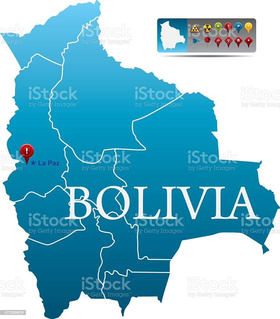 Bolivia map with navigation icons vector art illustration