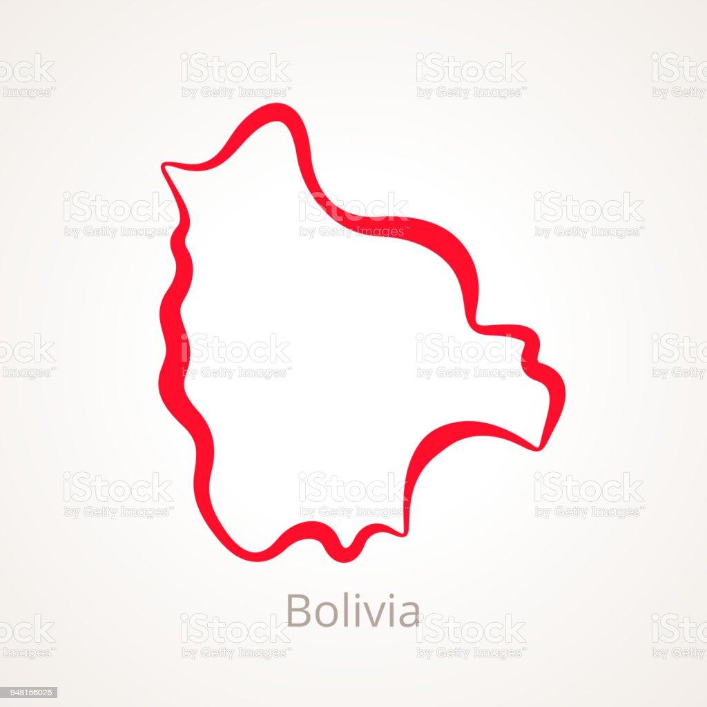 Bolivia - mapa de contorno - ilustración de arte vectorial