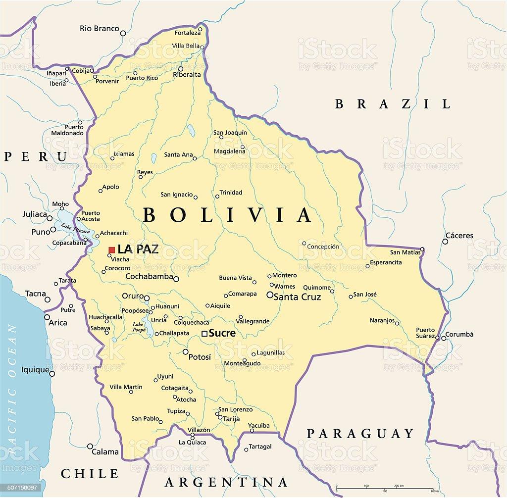 Bolivia mapa político - ilustración de arte vectorial