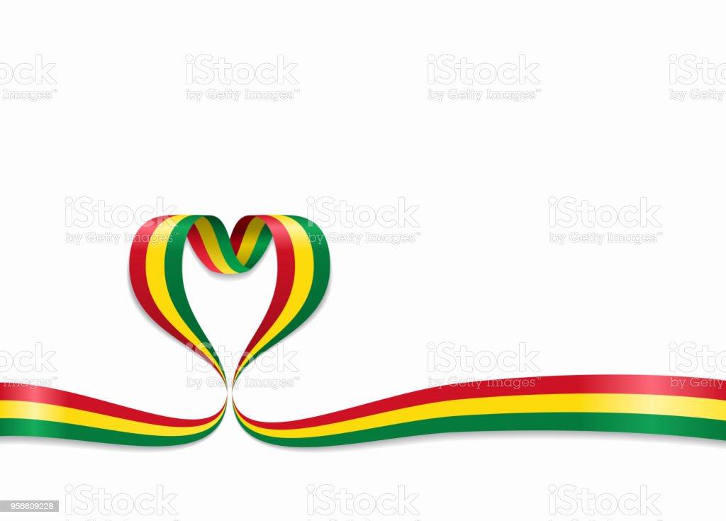 Cinta en forma de corazón de la bandera boliviana. Ilustración de vector. - ilustración de arte vectorial