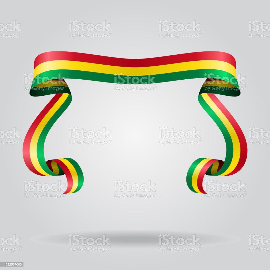 Fondo de cinta ondulada de bandera boliviana. Ilustración de vector. - ilustración de arte vectorial