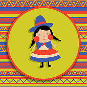 vector illustration, bolivian girl in traditional cholita costume, patterned background