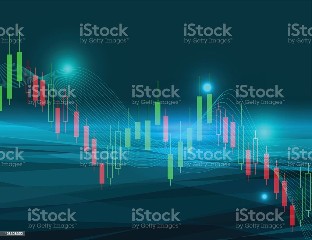 Bollinger bands in green and red on a stock market chart vector art illustration