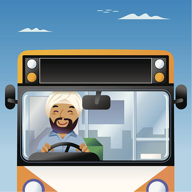 Bollywood Bus driver vector art illustration