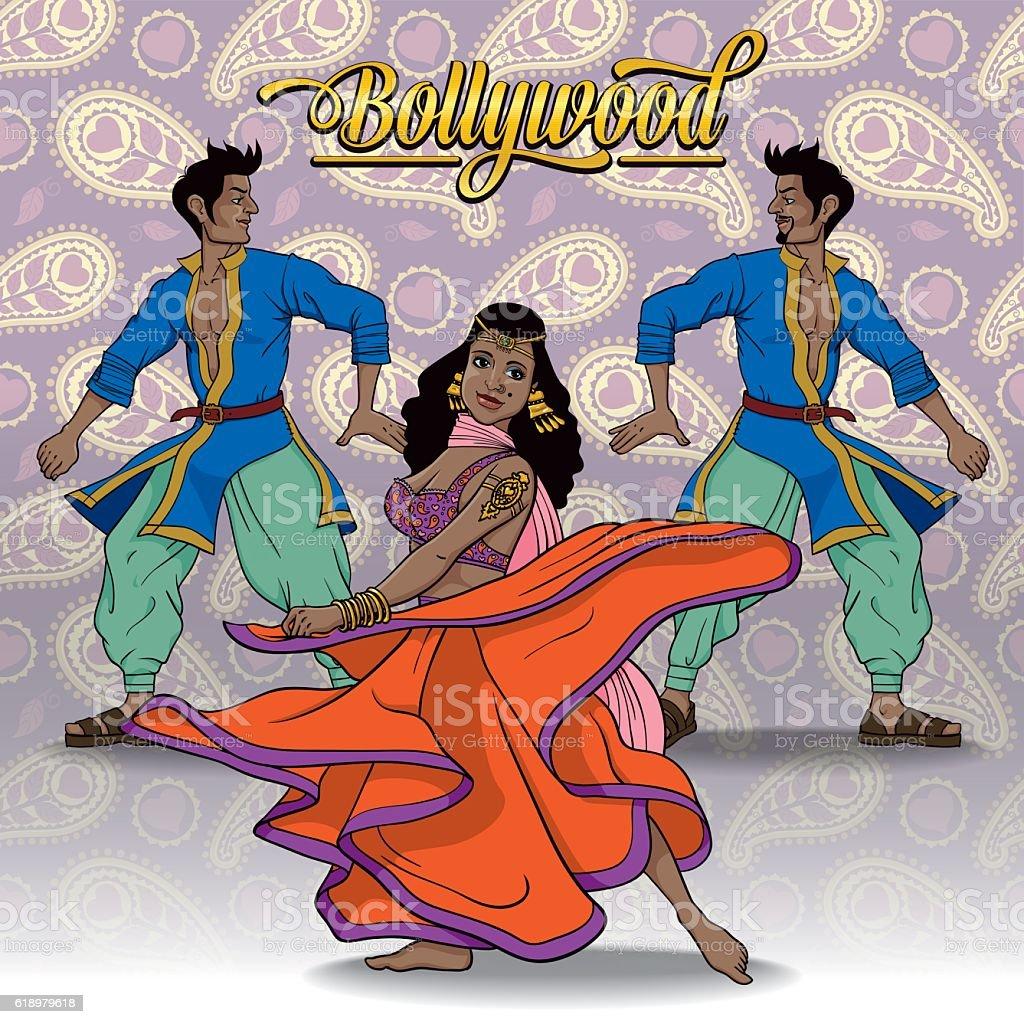 Bollywood Dancers vector art illustration