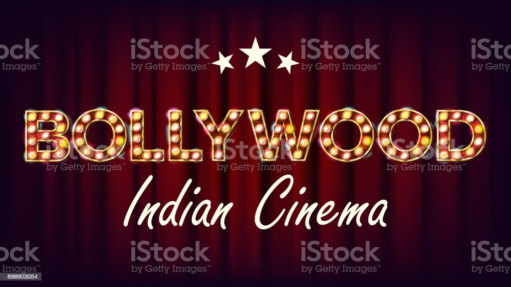 Bollywood Indian Cinema Banner Vector. Vintage Cinema 3D Glowing Element. For Cinematography Advertising Design. Retro Illustration vector art illustration