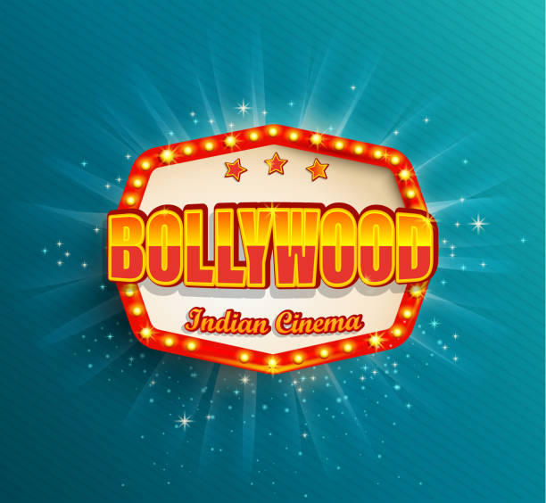 Bollywood Indian Cinema Film frame Bollywood Indian Cinema Film frame with retro light bulbs.Glowing movie symbol,poster, banner for your Design in retro vintage style.Template board on blue background.Bright signboard,lightbox premiere event stock illustrations