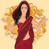 Bollywood star: Beautiful indian brunette woman in sari.