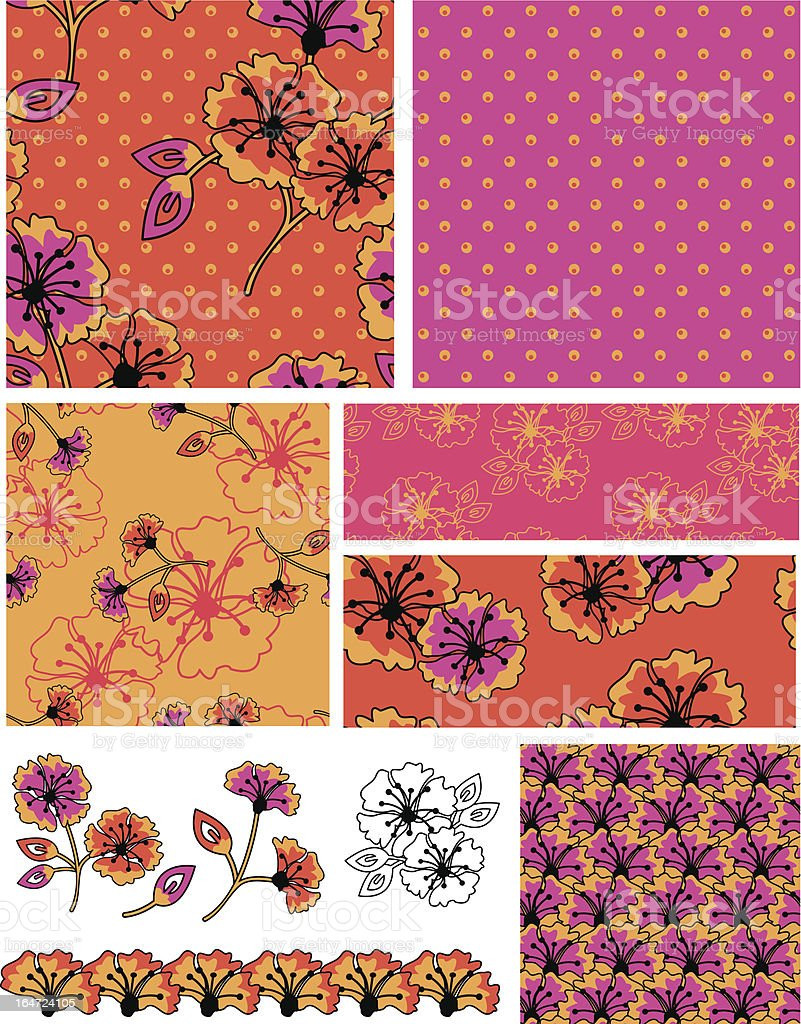 Bollywood Style Floral Vector Seamless Patterns. vector art illustration