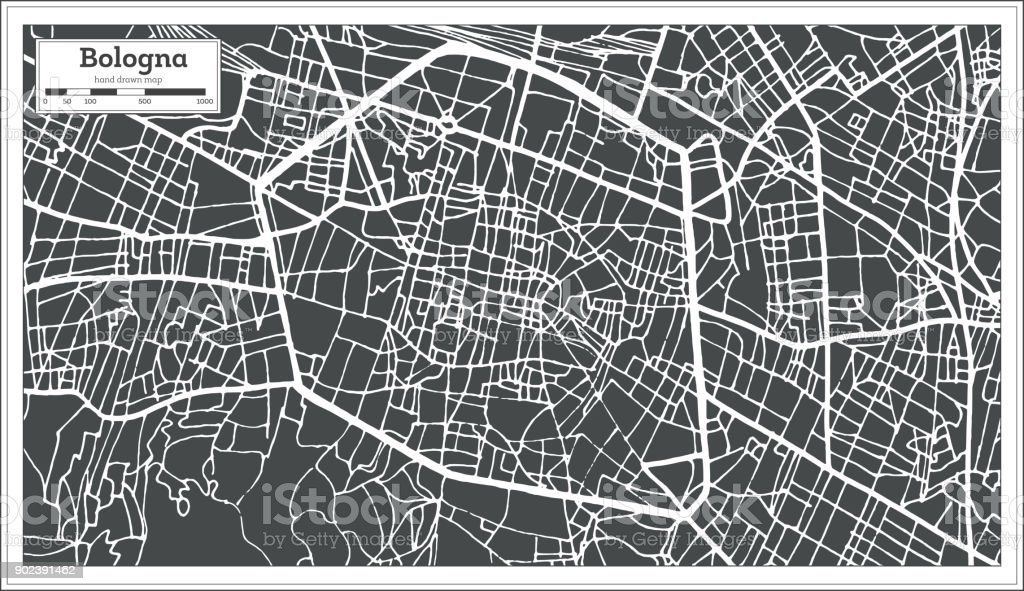 Bologna Italy City Map in Retro Style. Outline Map. vector art illustration