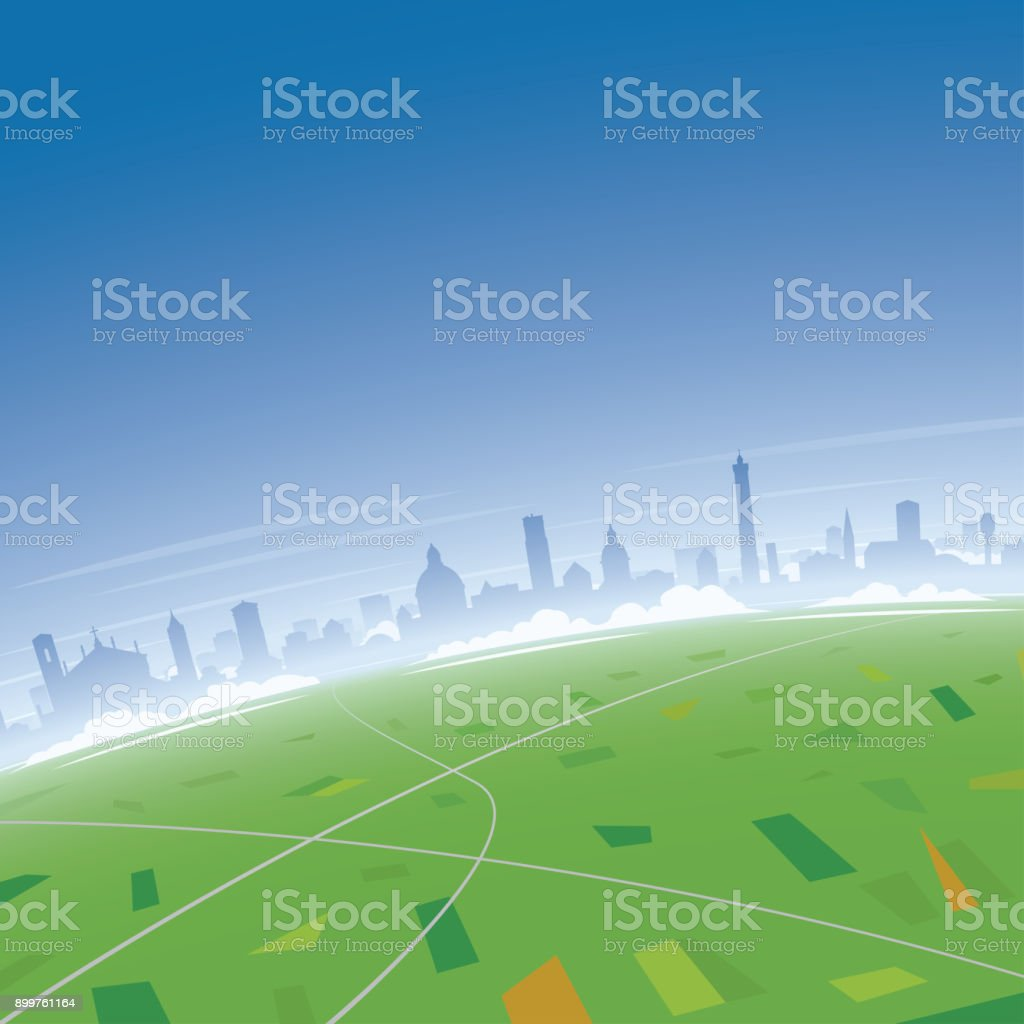 Bologna Skyline Aerial View vector art illustration