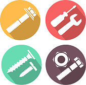 Bolt and nut flat icon, vector illustration