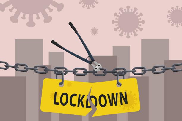 stockillustraties, clipart, cartoons en iconen met de snijder die van de bout lockdownkettingbarrière over stad snijdt. de vectorillustratie van de voorraad van open lockdown. - tears corona